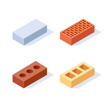 Brick isometric icons. Set of 3d construction blocks. Vector illustration in flat style on a white background.