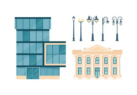Administration buildings. Set of modern and classic facades and street lanterns. Vector illustration in flat style.