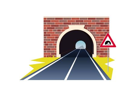 Tunnel road concept. Horizontal landscape with entrance to the tunnel. Vector illustration in flat style isolated on white background Иллюстрация