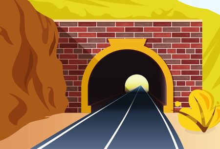 Road tunnel concept. Horizontal mountain landscape with entrance to the tunnel. Vector illustration in flat style