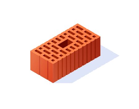 Brick isometric icons. 3d perforated construction block. Vector illustration in flat style on a white background.