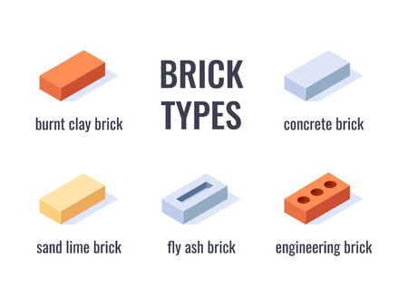 Types of bricks. Design with isometric icons. Set of 3d construction blocks. Vector illustration in flat style on a white background.