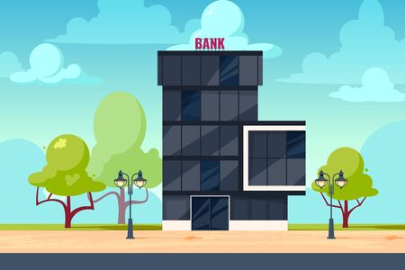 Bank exterior. Cityscape with facade of financial or other administration building. Vector illustration in flat style. Banque d'images - 131867203
