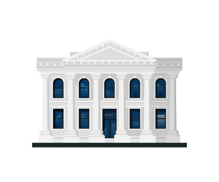 Administration building. Facade of bank, government, museum, library, court or other. Vector illustration in flat style