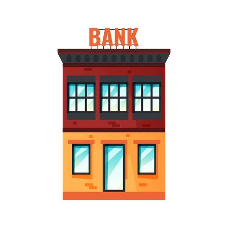 Bank building. Two-storied house icon. Vector illustration in flat style isolated on white background