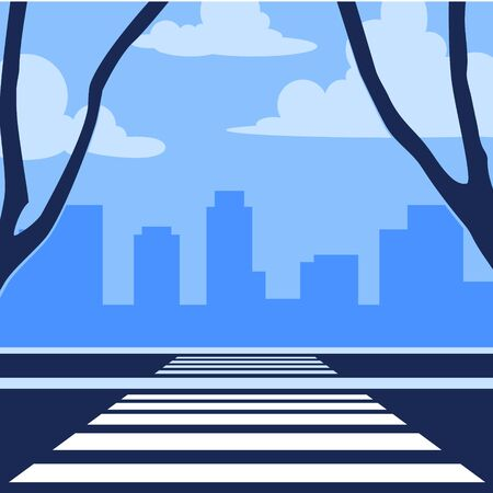 Crosswalk in perspective view. City crossroads in flat style. Vector illustration isolated on white background Illustration