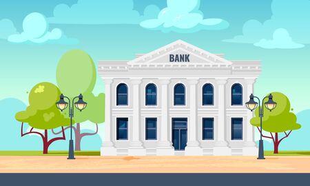 Esterno della banca. Paesaggio urbano con facciata di un edificio amministrativo o finanziario. Illustrazione vettoriale in stile piatto.