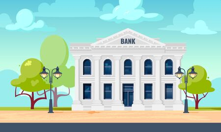 Bank exterior. Cityscape with facade of financial or other administration building. Vector illustration in flat style.
