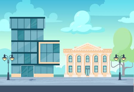 Administration buildings. Cityscape with facade of financial institutions, museum, office, university, court or other. Vector illustration in flat style. 向量圖像