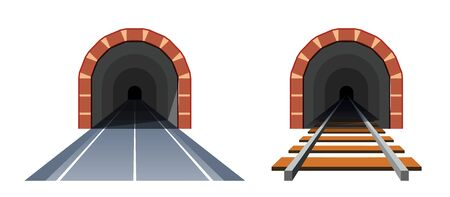 Road tunnel and railway tunnel. Simple vector illustration in flat style isolated on white background Illustration