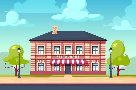 Restaurant facade of european building. Citycsape with vintage house. Vector illustration in flat style