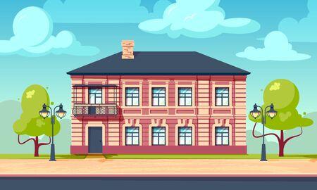 House facade concept. Citycsape with vintage european building. Horizontal vector illustration in flat style