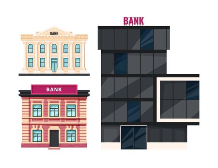 Bank buildings. Skyscraper, vintage and classic ancient houses. Vector illustration in flat style. Banque d'images - 131854334