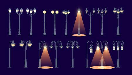 Light pole icons. Set of illuminated street lampposts on dark background, vector illustration Ilustração