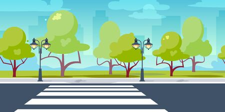 Crosswalk in perspective view. City crossroads in flat style. Vector illustration isolated on white background Stock Vector - 131854335