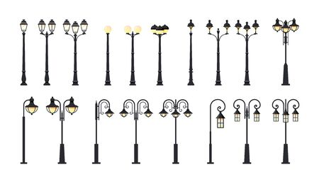 Street lamppost. Set of city light poles isolated on white background, vector illustration in flat style Çizim