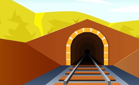 Tunnel road concept. Horizontal mountain landscape with entrance to the railway tunnel. Vector illustration in flat style