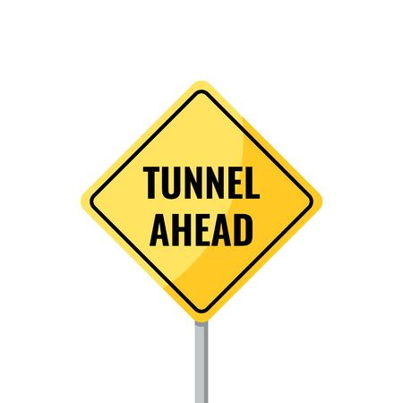 Tunnel ahead sign. Warning American road sign isolated on white background. Vector illustration in flat style. Illusztráció