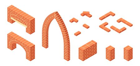 Brickwork isometric icons. Masonry items in flat style. Vector illustration on a white background. 写真素材 - 132601577