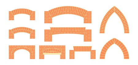 Brick archs set. Masonry icons in flat style. Vector illustration on a white background.
