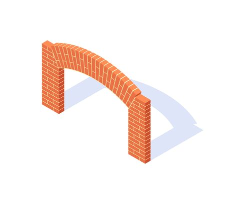 Brick arch isometric. Masonry icon in flat style. Vector illustration on a white background.