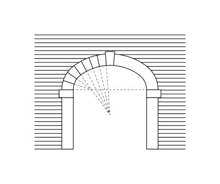 Arch drawing. Gateway design in line style. Vector illustration on a white background. Ilustração