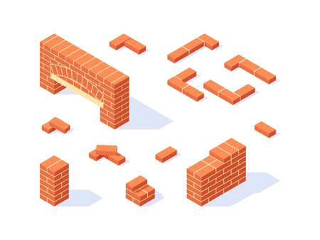 Brickwork isometric icons. Masonry items in flat style. Vector illustration on a white background. 写真素材 - 132600802