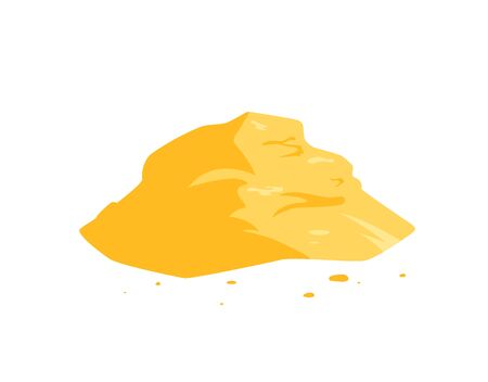 Sand pile icon isolated on a white background. Yellow dune in a desert, on a beach, at a construction site or playground. Vector illustration in flat style.