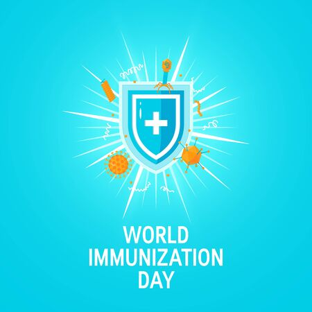 World immunization day concept. Medical shield surrounded by viruses and bacterium. Vector illustration on turquoise background.