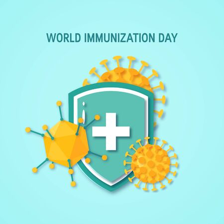 World immunization day poster. Medical shield surrounded by viruses and bacterium. Vector illustration on turquoise background in paper cut style
