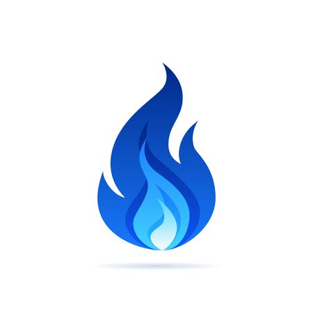 Gas flame icon. Blue fire pictogram. Vector illustration isolated on a white background in flat style. Vector Illustration