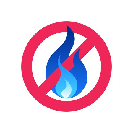 No gas icon. Stop sign with blue fire. Vector illustration isolated on a white background in flat style.
