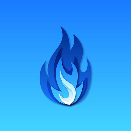 Gas fire icon. Blue fire pictogram. Vector illustration in paper cut style.