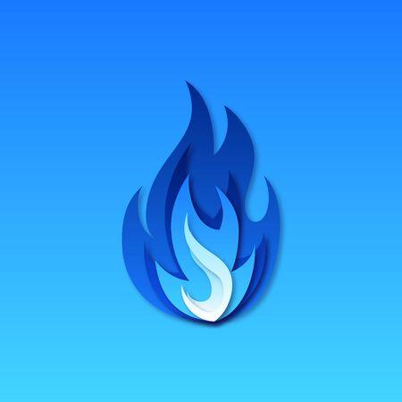 Symbol für Gasfeuer. Blaues Feuerpiktogramm. Vektor-Illustration im Scherenschnitt-Stil. Vektorgrafik