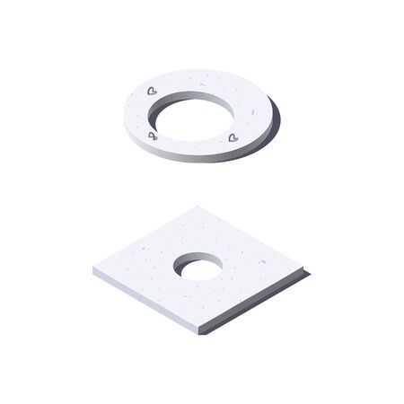 Concrete cover slab icons. Round and square lids with holes in isometric view. Building materials for construction purposes. Vector illustration isolated on a white background in flat style.
