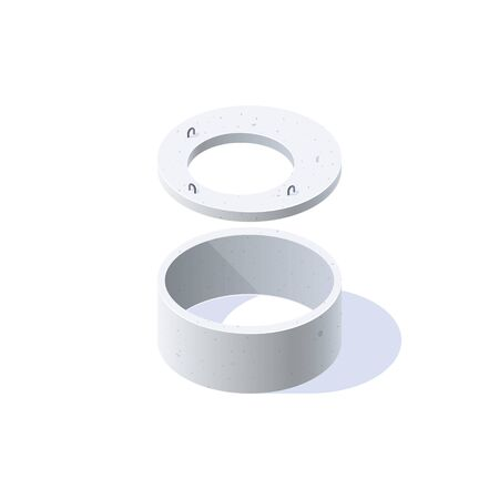 Concrete ring for wells, sewerage, septic tanks with a lid. Isometric icon of building materials. Vector illustration isolated on a white background in flat style. Ilustração