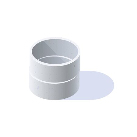 Concrete rings for wells, sewerage, septic tanks. Isometric icon of building materials. Vector illustration isolated on a white background in flat style.