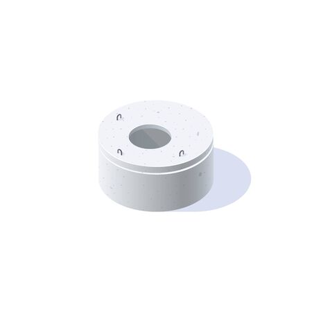 Concrete ring for wells, sewerage, septic tanks with the lid closed. Isometric icon of building materials. Vector illustration isolated on a white background in flat style.