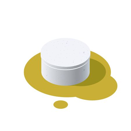 Concrete well with the lid closed. Isometric icon of building materials. Vector illustration isolated on a white background in flat style.