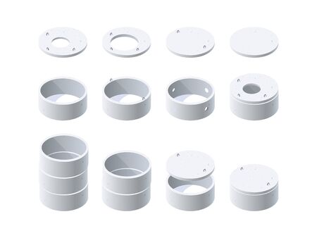 Concrete rings for wells, sewerage, septic tanks with a lids. Set of isometric icons. Vector illustration isolated on a white background in flat style.