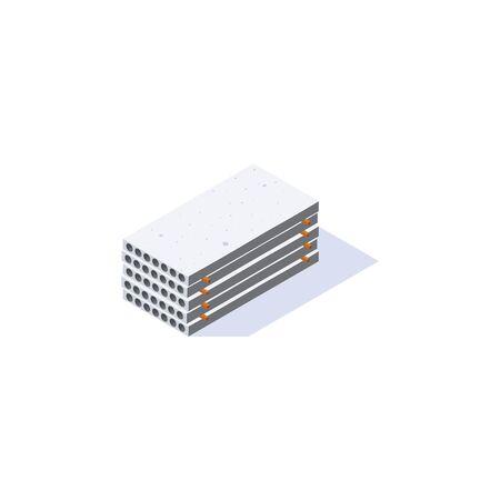 Icona di lastre di cemento. Pila di tavole a nucleo cavo in vista isometrica. Deposito materiali da costruzione. Illustrazione vettoriale isolato su sfondo bianco in stile piano. Vettoriali