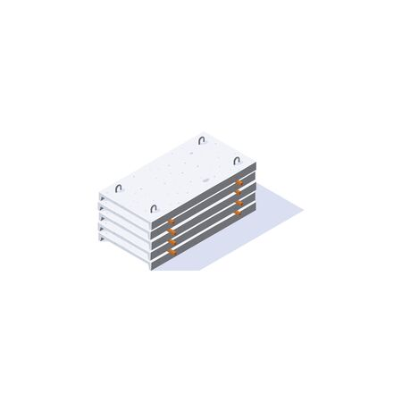Concrete slabs icon. Stack of channel planks in isometric view. Building materials storage. Vector illustration isolated on a white background in flat style. 向量圖像