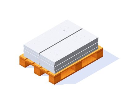 Pallet with concrete panels, isometric icon. Building materials storage concept. Vector illustration isolated on a white background in flat style.