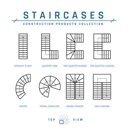 Escaliers, vue de dessus. Ensemble d'éléments de dessin pour les plans architecturaux. Illustration vectorielle isolée sur fond blanc dans le style de contour. Collection de produits de construction. Vecteurs