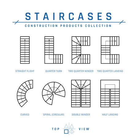 Staircases, top view. Set of drawing elements for architectural blueprints. Vector illustration isolated on a white background in outline style. Construction products collection.