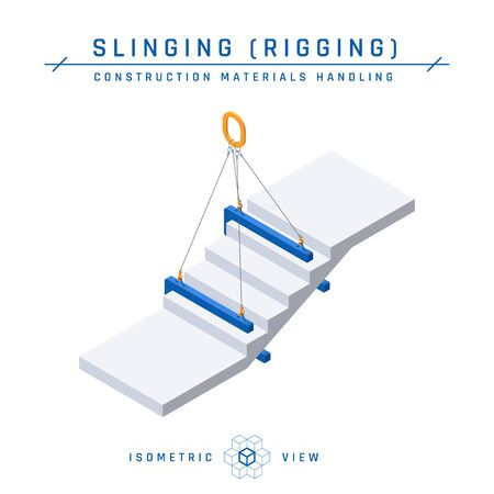Stairs slinging concept, isometric view. Construction products collection. Vector illustration isolated on a white background in flat style.