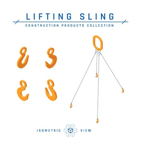 Lifting slings concept, isometric view. Construction products collection. Vector illustration isolated on a white background in flat style.