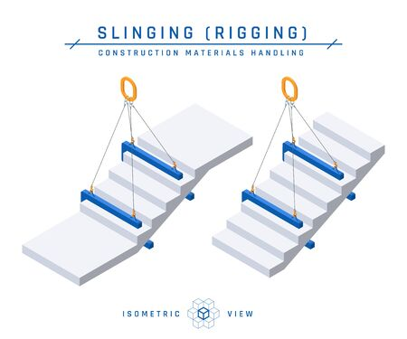 Staircase slinging concept, isometric view. Vector illustration isolated on a white background in flat style. Construction products collection.