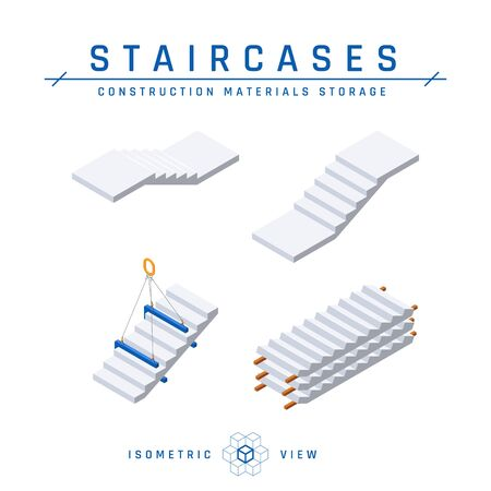 Concrete stairs set, isometric view. Vector illustration isolated on a white background in flat style. Construction products collection.