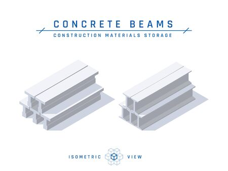 Concrete beams storage concept, isometric view. Set of icons for architectural designs. Vector illustration isolated on a white background in flat style. Construction products collection.